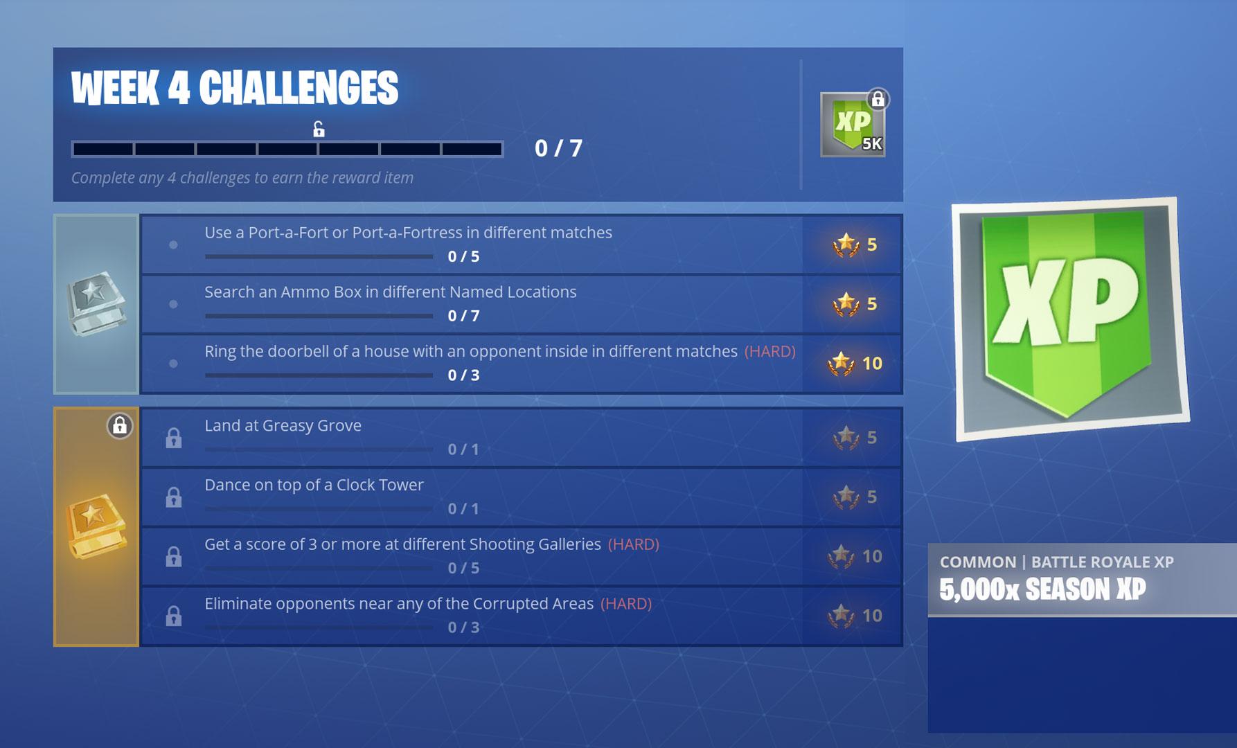 fortnite season 6 week 4 challenges