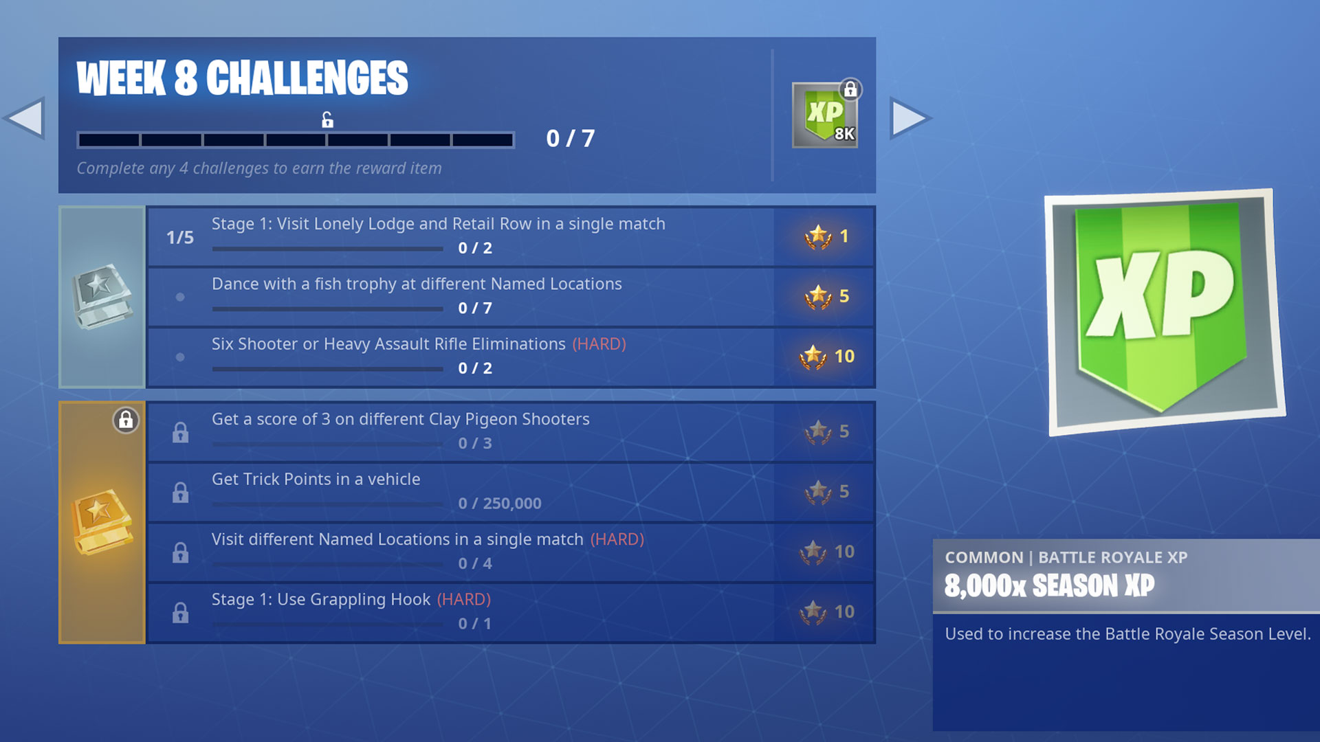 Week 8 Chllenges Fortnite